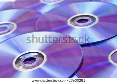 DVD ROMs in a Pile - stock photo