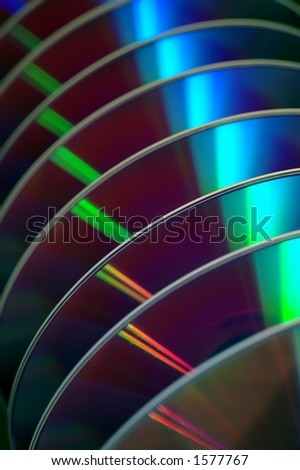DVDs in a row - stock photo