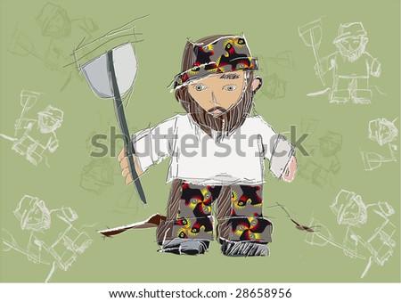 dwarf with a shovel - stock photo