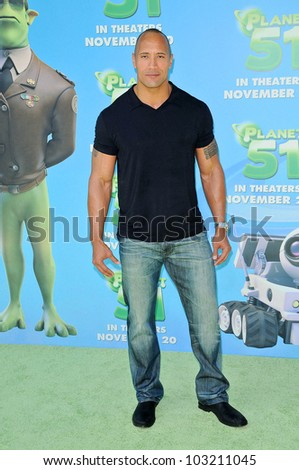 "Dwayne Johnson  at the ""Planet 51"" Los Angeles Premiere, Mann Village Theater, Westwood, CA. 11-14-09"