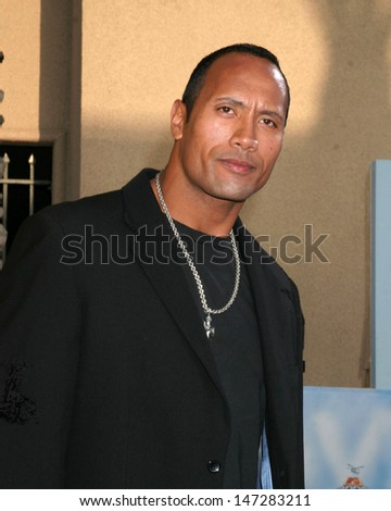 "Dwayne ""The Rock"" Johnson arriving at the  MTV Movie Awards at the Shrine Auditorium,  Los Angeles, CA June 4, 2005 - stock photo"