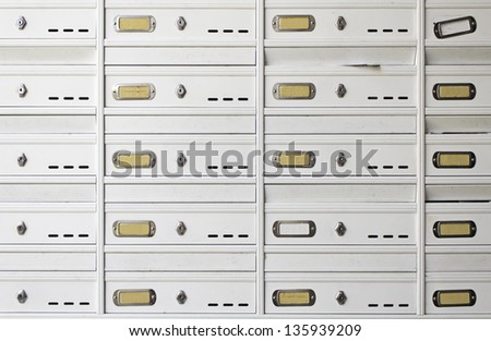Dwelling house mailbox, written communication, construction and architecture - stock photo