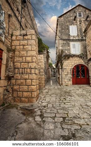 dwelling houses in Korcula. Croatia - stock photo