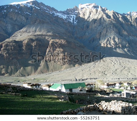 Dwellings in Spiti valley in the Himalayan mountains, Northern India - stock photo