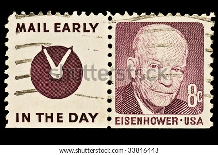 """Dwight D. Eisenhower 34th President of the United States (1953?1961) with slogan """"Mail Early In The Day"""".  Issued in 1970 - stock photo"""