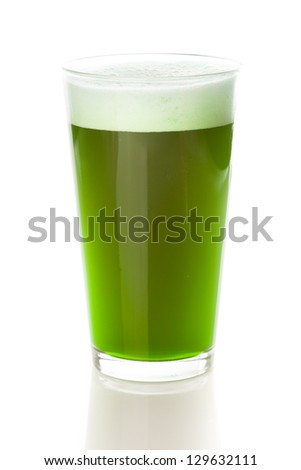 Dyed Green Beer for St. Patricks Day Celebration - stock photo