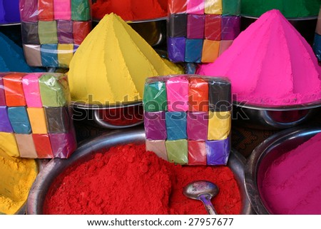 Dyes to paint on a market of Mysore - stock photo