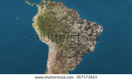 Dying Earth Global Warming Heavy Pollution Affected and Dried South America - stock photo