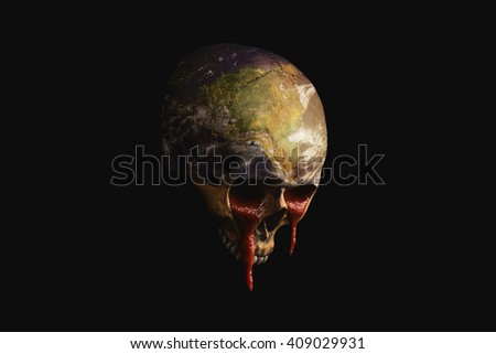 dying Earth running blood out of the Eyes - stock photo