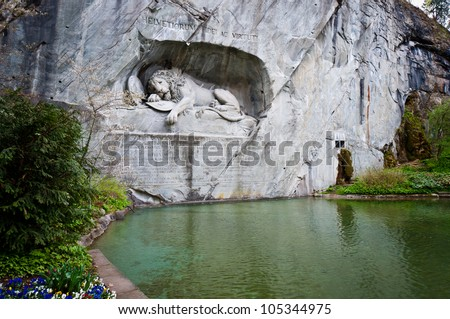 Dying lion monument (Lion of Lucere) landmark of Lucerne, Switzerland - stock photo