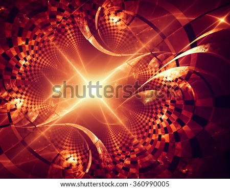 Dynamic and passionate abstraction with spectacular elements. The texture is like a gold inlay with mirrored reflections of light on a red background.It sends a festive mood. - stock photo