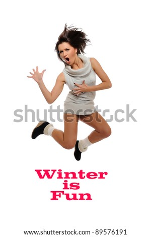 Dynamic beautiful wild winter woman jumping and screaming. isolated on white background - stock photo