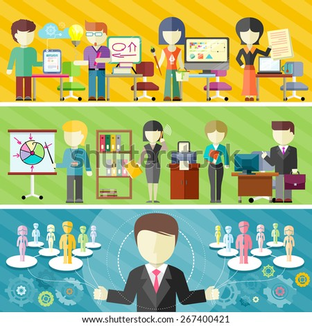 Dynamic business team concept in flat design. Teamwork in office, freelance concepts on banners. Main project manager manages teamwork. Raster version - stock photo