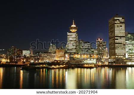 Dynamic City Core at Night - stock photo