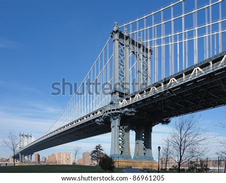 dynamic city view of New York (USA) showing the Manhattan Bridge over the East River in sunny ambiance