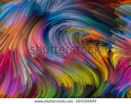 Dynamic Color series. Abstract arrangement of streams of paint suitable as background for projects on forces of nature, art, design and creativity - stock photo
