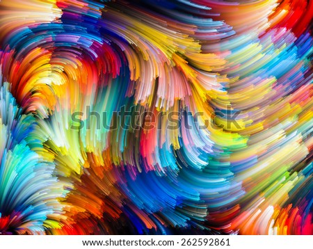 Dynamic Color series. Abstract design made of Colorful fractal clouds and graphic elements on the subject of forces of nature, art, design and creativity - stock photo