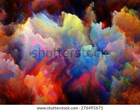 Dynamic Color series. Artistic background made of Colorful fractal clouds and graphic elements for use with projects on forces of nature, art, design and creativity