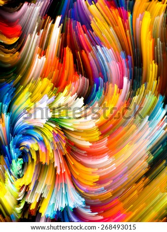 Dynamic Color series. Backdrop of  streams of paint to complement your design on the subject of forces of nature, art, design and creativity - stock photo