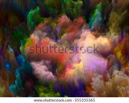 Dynamic Color series. Composition of Colorful fractal clouds and graphic elements with metaphorical relationship to forces of nature, art, design and creativity