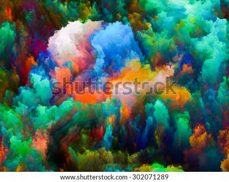 Dynamic Color series. Design made of Colorful fractal clouds and graphic elements to serve as backdrop for projects related to forces of nature, art, design and creativity - stock photo