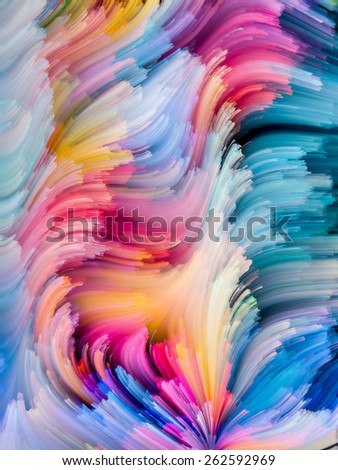 Dynamic Color series. Graphic composition of Colorful fractal clouds and graphic elements to serve as complimentary design for subject of forces of nature, art, design and creativity - stock photo