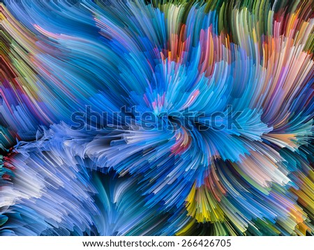 Dynamic Color series. Graphic composition of streams of paint to serve as complimentary design for subject of forces of nature, art, design and creativity - stock photo