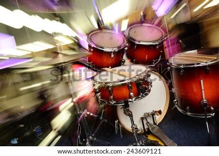 Dynamic drum set. - stock photo