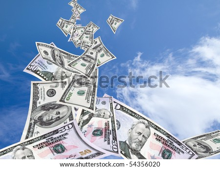 Dynamic energy of success.  A stream of money falls from the sky. - stock photo