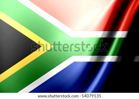 Dynamic flag of south africa. Waves illustration - stock photo