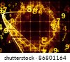 Dynamic interplay of abstract geometric grids and technology symbols on the subject of science, math, computing  and modern technologies - stock photo