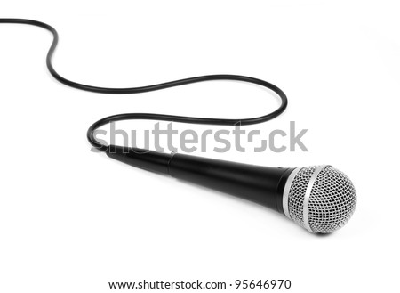dynamic mic with a curled cable over white. - stock photo