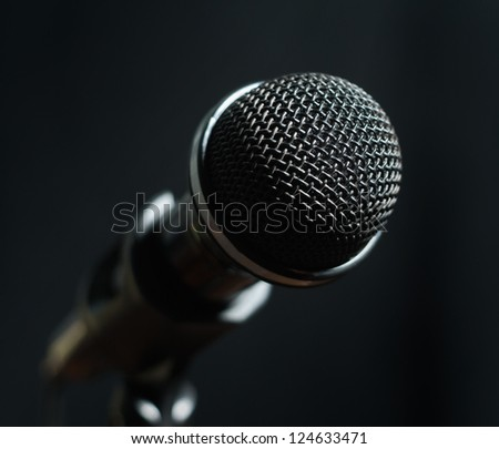 Dynamic microphone close-up on dark background
