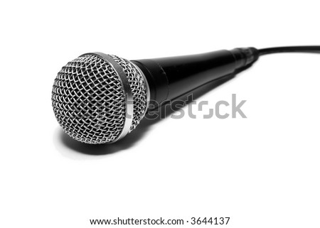 Dynamic microphone isolated on white - stock photo