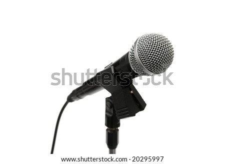 Dynamic microphone on a stand isolated on white - stock photo