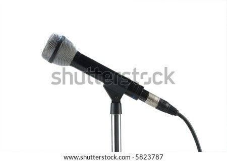 Dynamic microphone on a stand isolated on white
