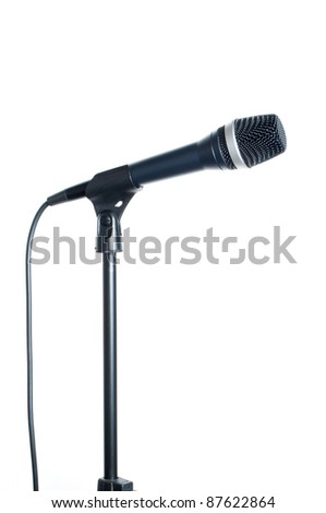 Dynamic microphone on a white background - stock photo