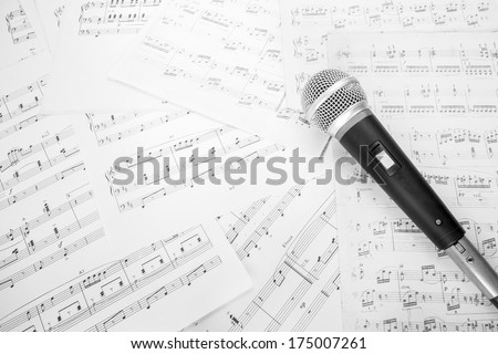 dynamic microphone on music sheet - stock photo