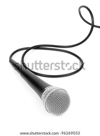 Dynamic microphone with cable on a white background - stock photo