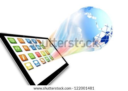 Dynamic new media technology concept illustration - stock photo