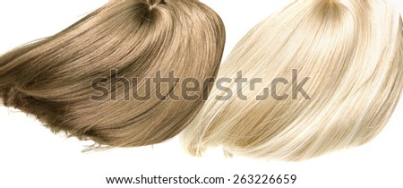 Dynamic photo of blond and brown hair