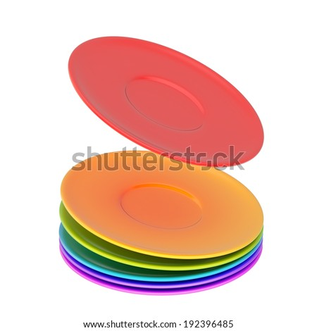 Dynamic pile of colorful ceramic plates isolated over the white background