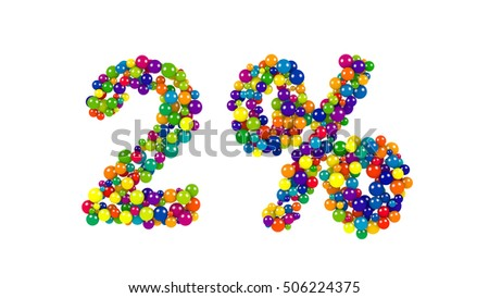 Dynamic red, orange, green, purple and blue colored marbles or balloon like circles forming 2 percent over white background