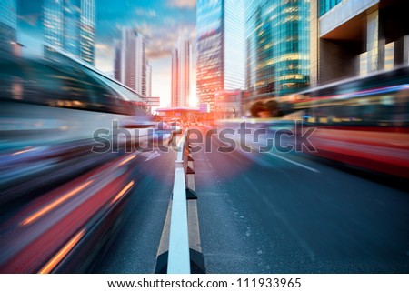 dynamic street in modern city,dusk traffic in shanghai - stock photo