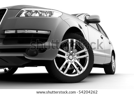 Dynamic view of the modern car, front view - stock photo