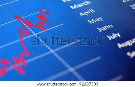 dynamics of indicators on business chart - stock photo