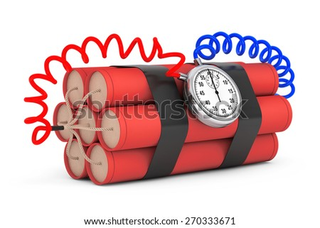 Dynamit with Stop Watch Detonator on a white background