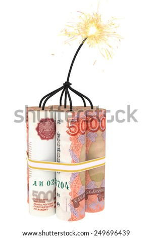 Dynamite composed of ruble bills with a burning wick. High resolution 3D image - stock photo