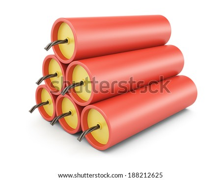 Dynamite isolated on white background. 3d rendering illustration - stock photo