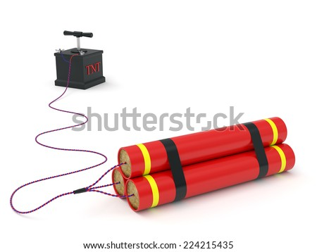 Dynamite with detonating fuse rendered with soft shadows on white background - stock photo